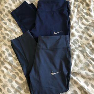 Nike Power Running Crop Leggings Bundle Blue Sz L